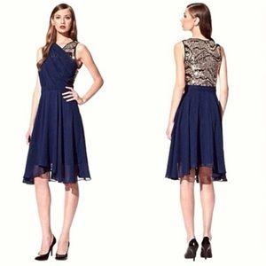 3.1 Phillip Lim Blue Gold Sequin Formal Dress 4